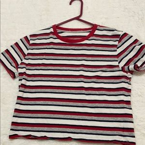 Cropped striped t shirt